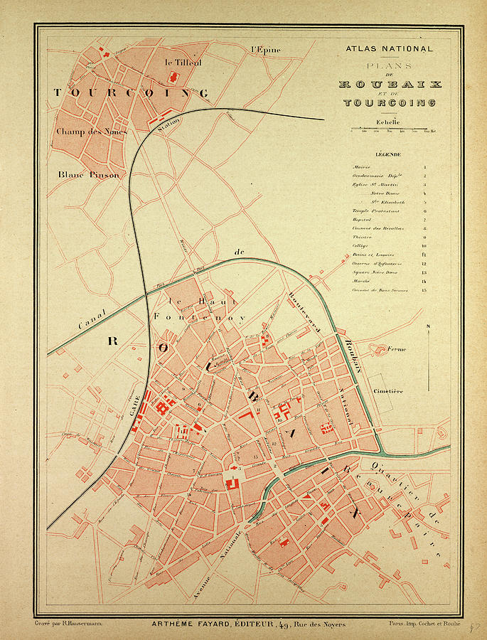 Map Of Roubaix And Tourcoing Drawing by English School