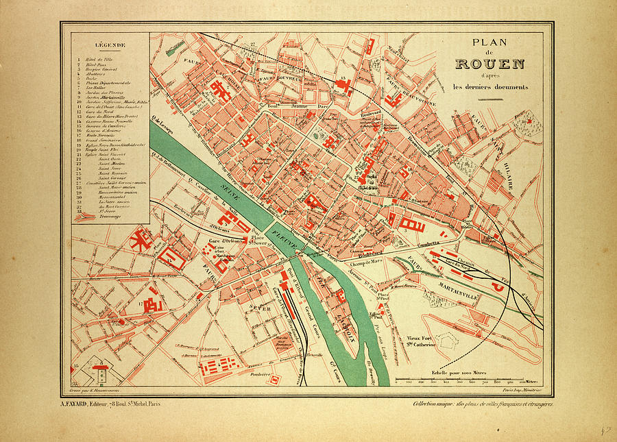 Map Of Rouen France Drawing by French School
