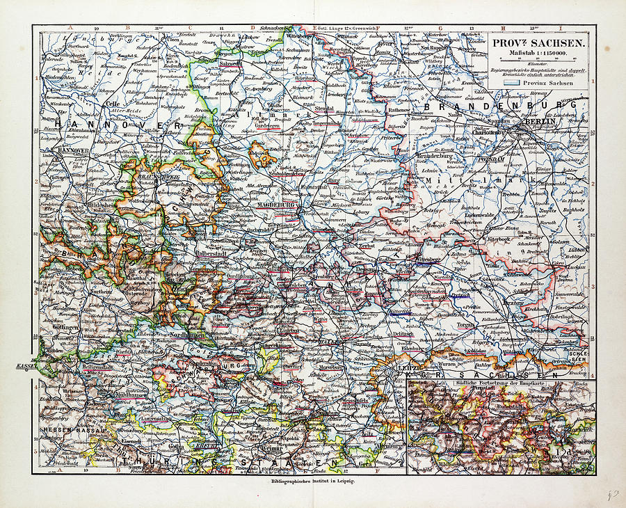 Map Of Sachsenanhalt Sachsen Saxony Germany 1899 Drawing by German