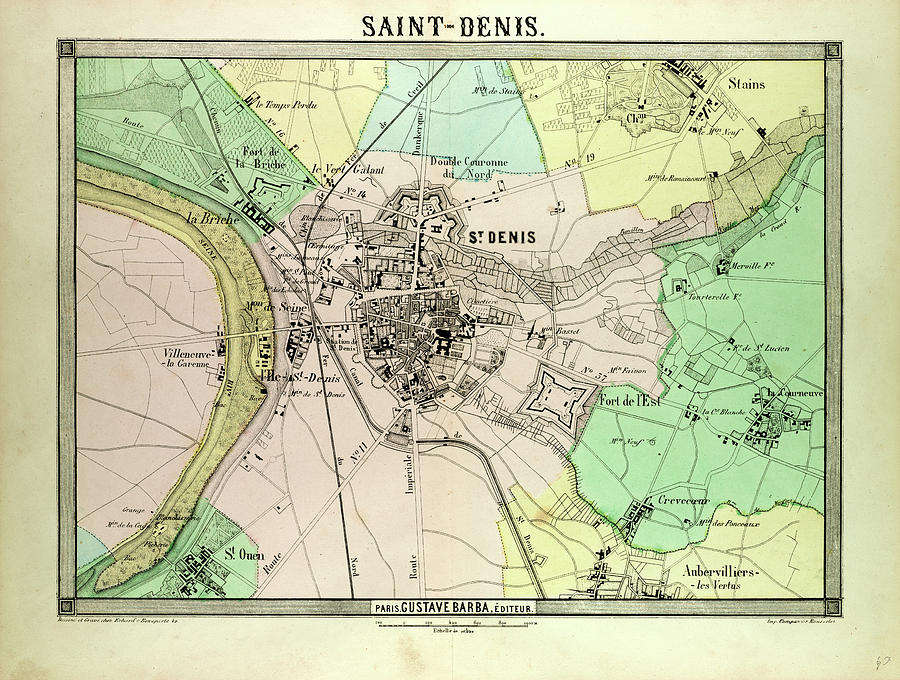 Saint Denis France Map.Map Of Saint Denis France By French School