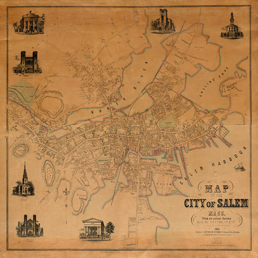 Map Of Salem 1851 Photograph by Andrew Fare