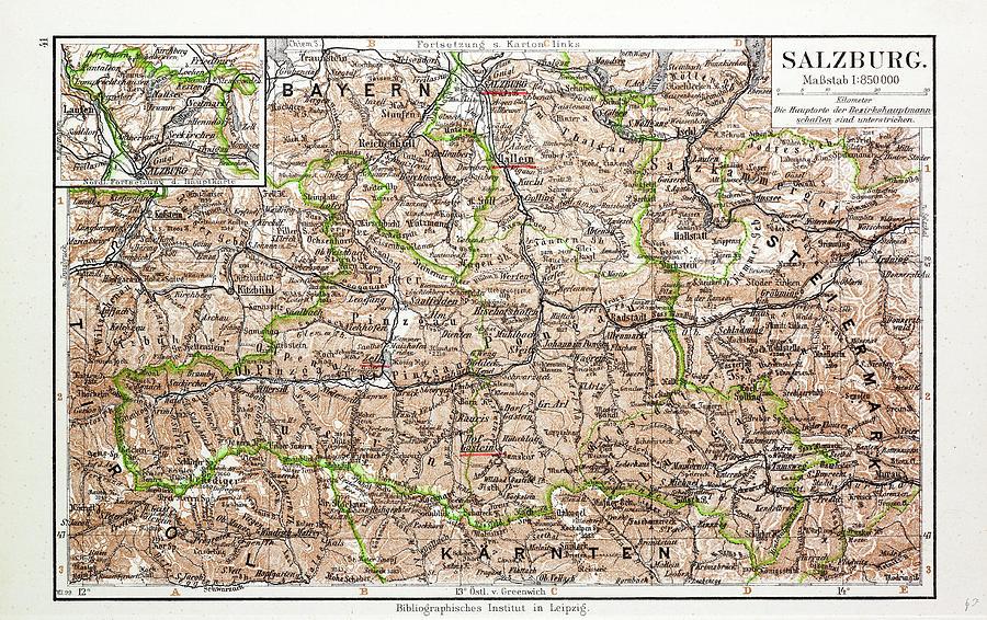 Map Of Salzburg Austria 1899 by Austrian Salzburg Map on berchtesgaden map, bad gastein map, prague map, alps map, xanthi map, saalbach hinterglemm map, bruges map, heidelberg map, austria map, hamburg map, albania map, zurich map, sarajevo map, hallstatt map, innsbruck map, wan chai map, qandahar map, munich map, strasbourg map, europe map,