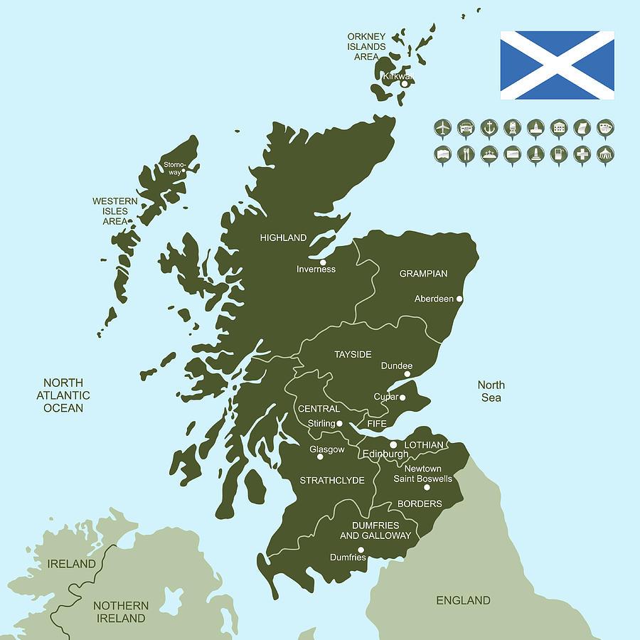 Map Of Scotland Digital Art by Poligrafistka