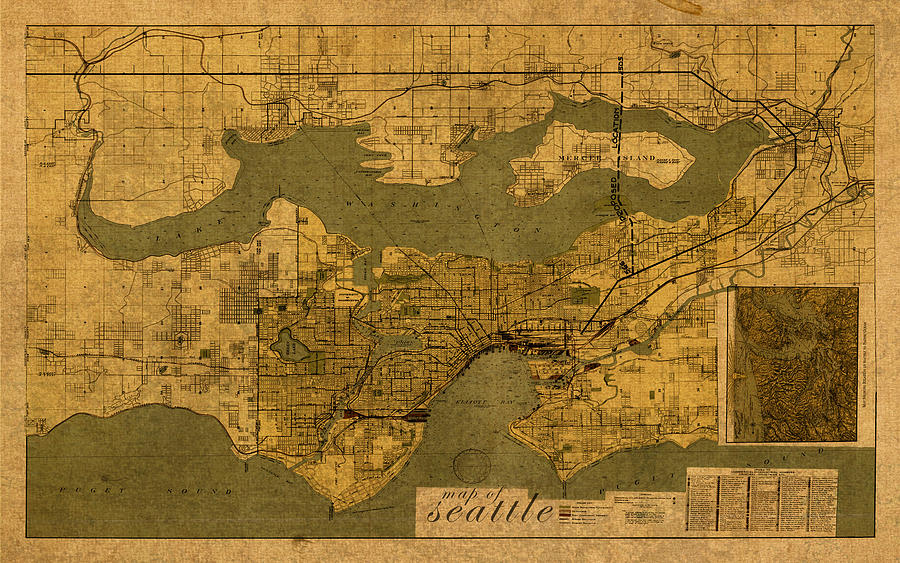 North America Map Seattle%0A Map Of Seattle Washington Vintage Old Street Cartography On Worn