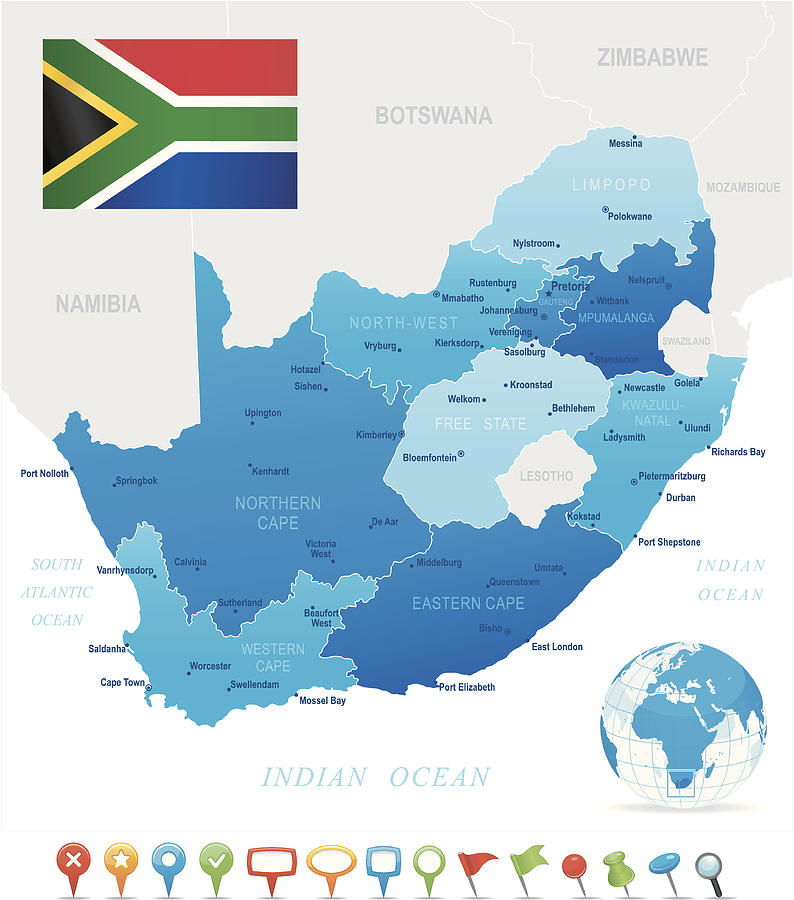 Map Of South Africa   States, Cities, Flag And Icons by Pop_jop