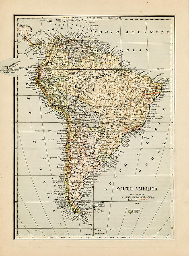 Map Of South America 1875 Photograph by Thepalmer
