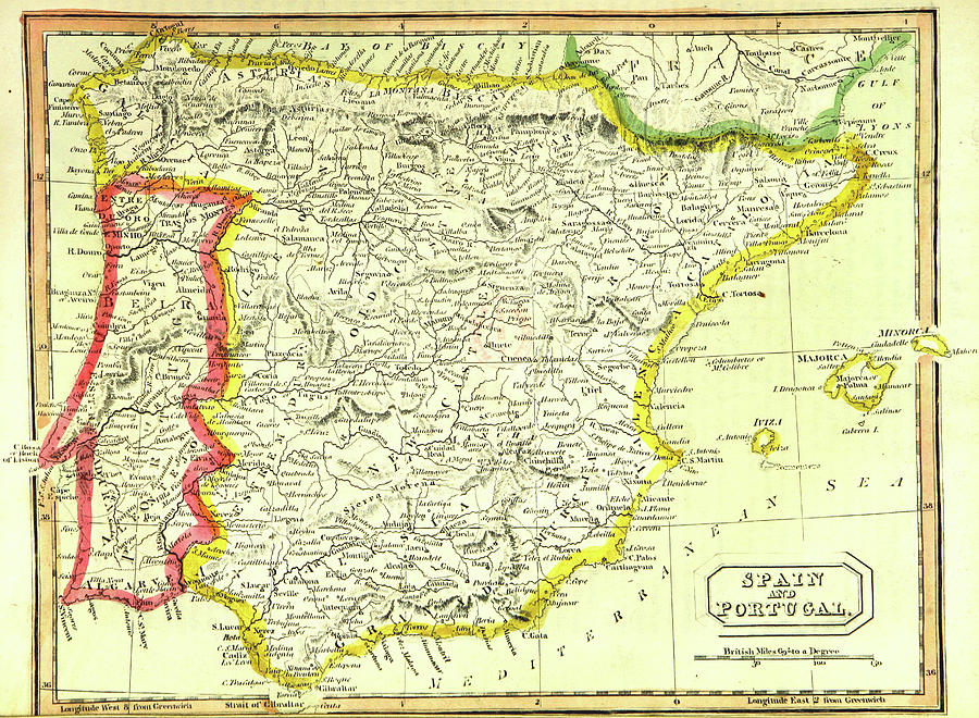 Map Of Spain Drawing.Map Of Spain And Portugal By Litz Collection
