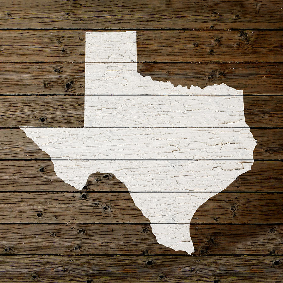 Map Of Texas Mixed Media   Map Of Texas State Outline White Distressed  Paint On Reclaimed
