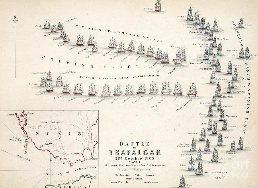 Map Drawing - Map Of The Battle Of Trafalgar by Alexander Keith Johnson