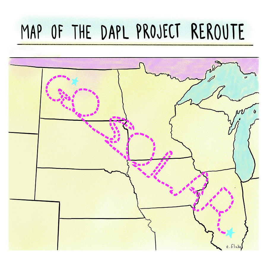 Map Of The Dapl Project Reroute Drawing by Emily Flake
