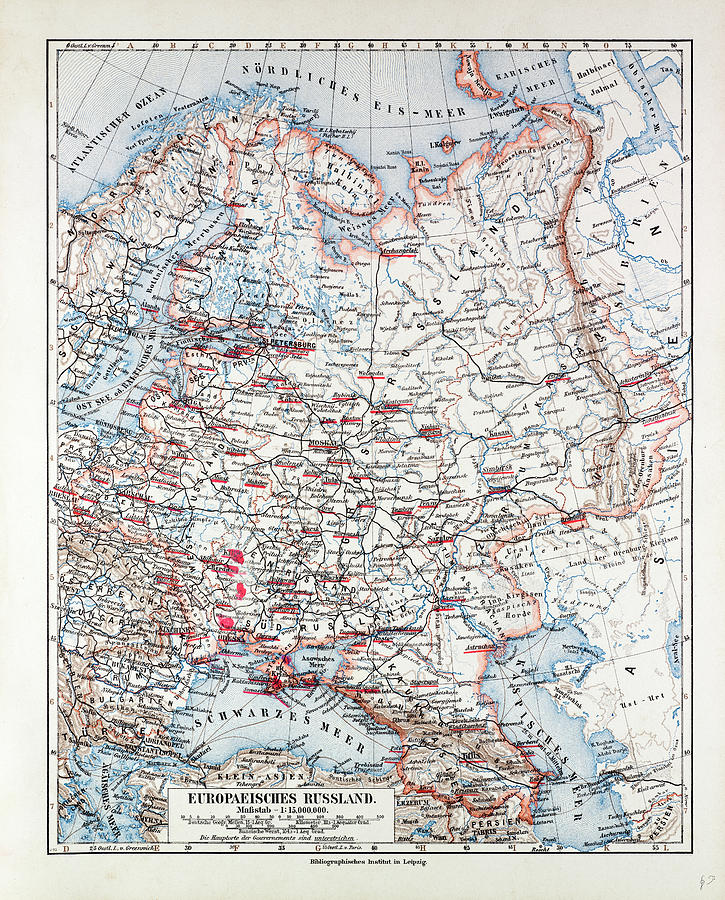 Map Of The European Part Of Russia 1899 Drawing by English School