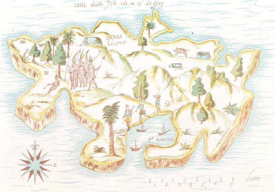 Martinique Drawing - Map Of The Island Of Martinique by Samuel de Champlain