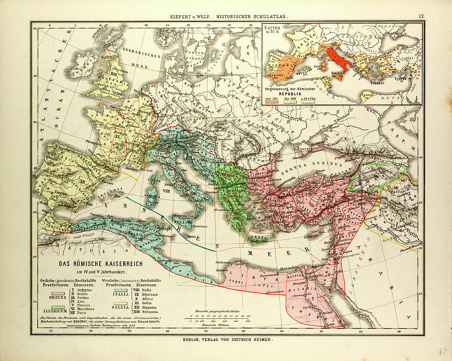Roman Empire Drawing - Map Of The Roman Empire In The 4th And 5th Centuries by English School