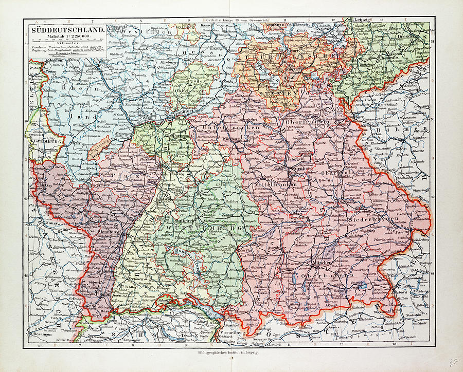 Map Of South Germany.Map Of The South Of Germany 1899 By German School