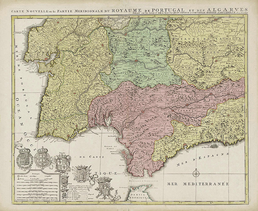 Map South Of Spain.Map Of The South Of Spain And Portugal Johannes Covens By Johannes Covens And Cornelis Mortier