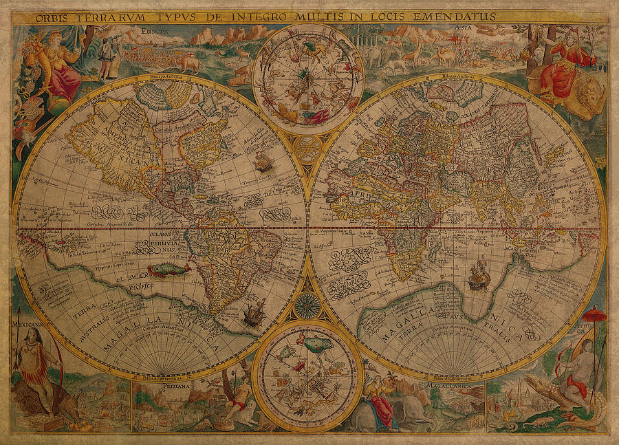 Map Of The World 1599 Vintage Ancient Map On Worn Parchment