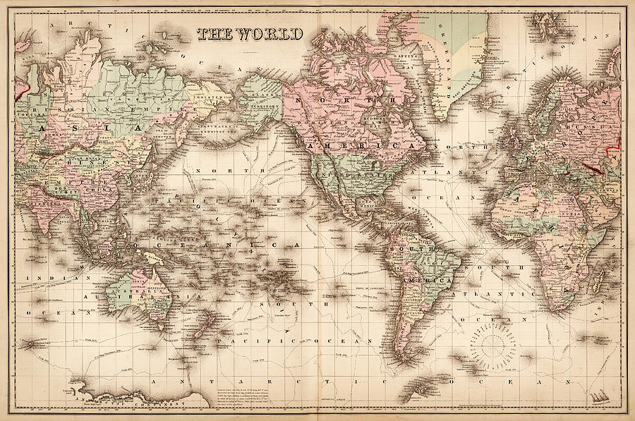 Map Of The World 1855 Digital Art by Thepalmer