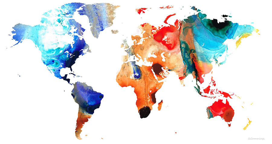 Map Of The World Colorful Abstract Art Painting By Sharon Cummings - Colorful world map