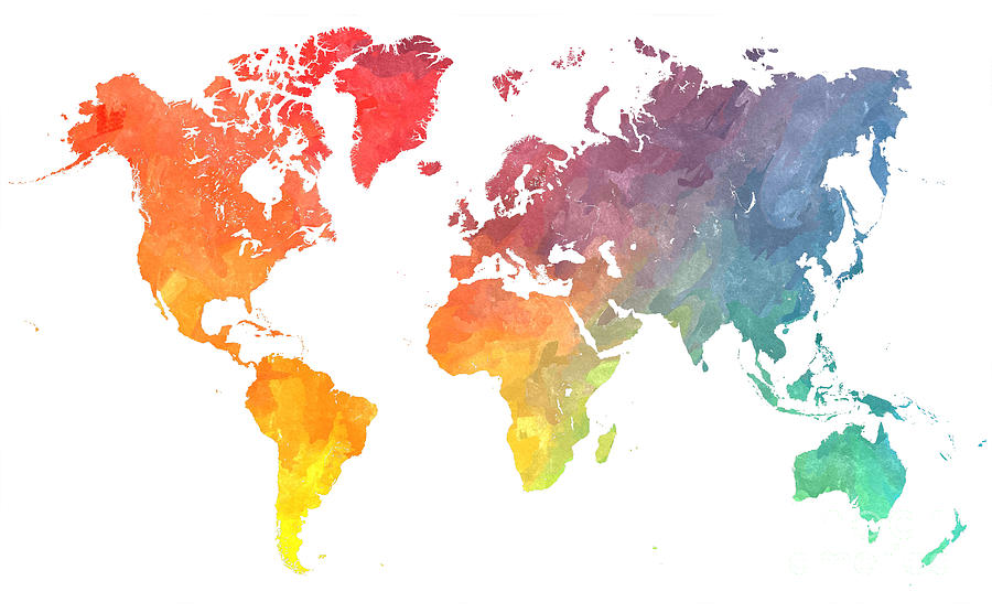 Map Of The World Digital Art - Map of the world colored by Justyna Jaszke JBJart