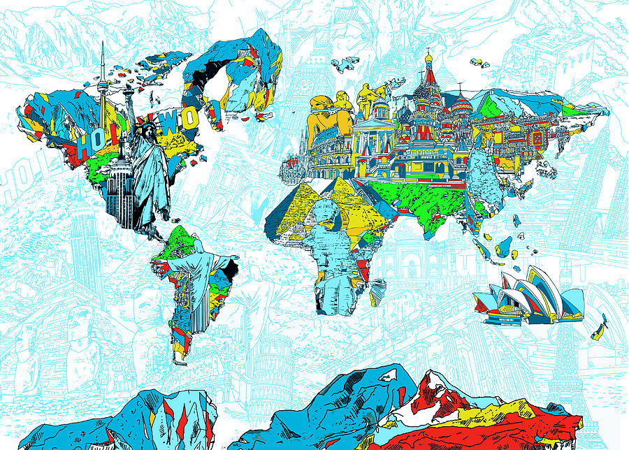 Map of the world landmark collage 2 painting by bekim art map of the world painting map of the world landmark collage 2 by bekim art gumiabroncs