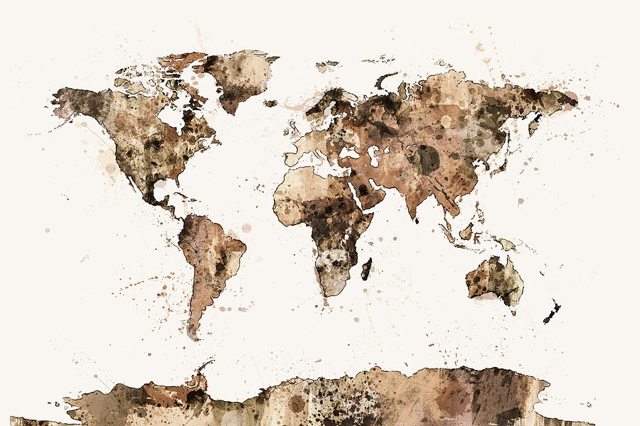Map Of The World Map Sepia Watercolor Digital Art By Michael Tompsett - Large sepia world map