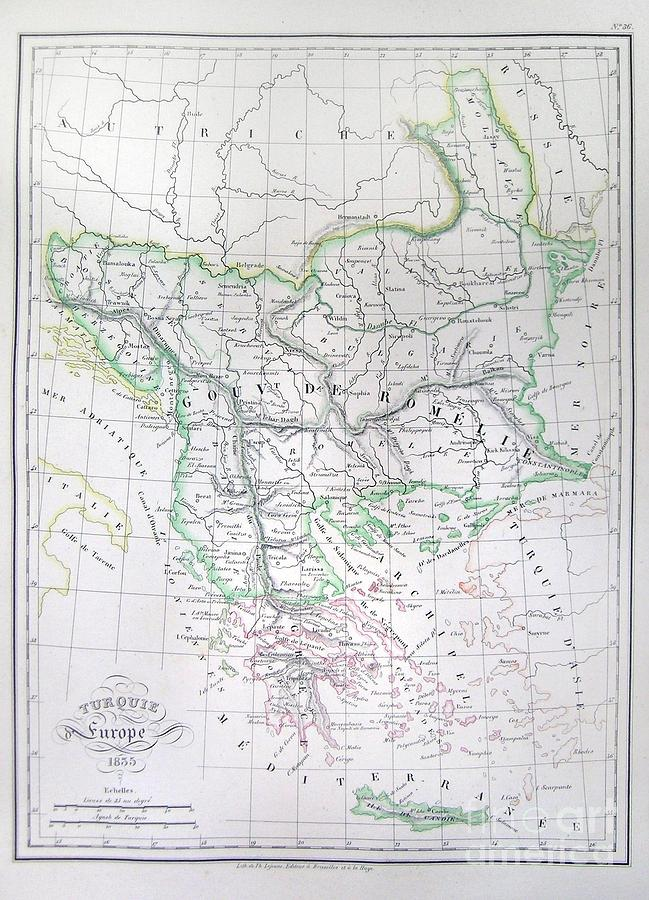 Abstract Photograph - Map Of Turkey Or The Ottoman Empire In Europe by Paul Fearn