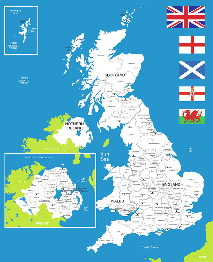 Map Of United Kingdom Digital Art by Poligrafistka