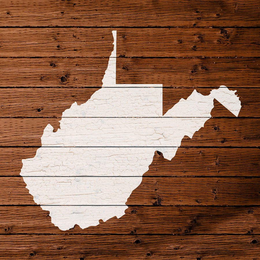 Map Of West Virginia State Outline White Distressed Paint On