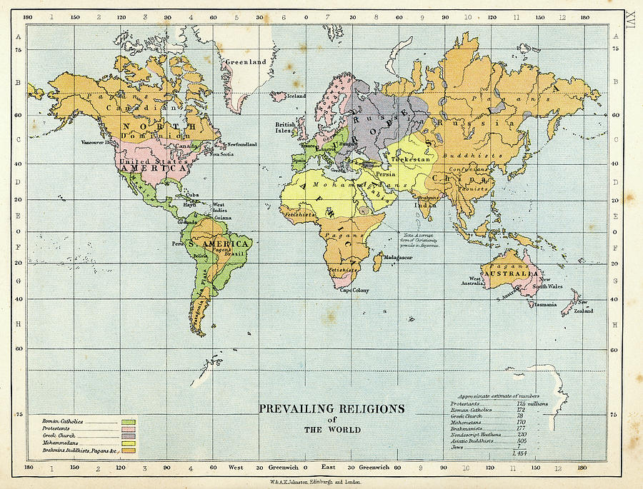 Map Prevailing Religions Of The World Digital Art by Duncan1890