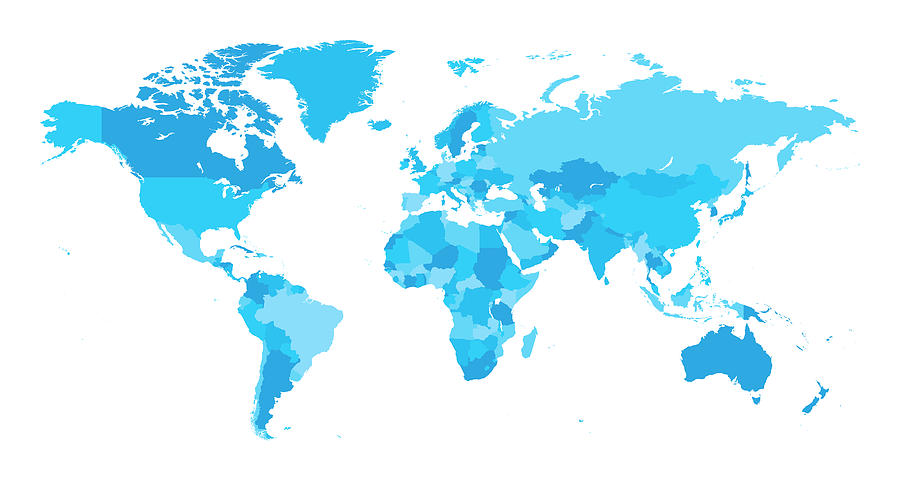 Map World Seperate Countries Light Blue Drawing by Bamlou