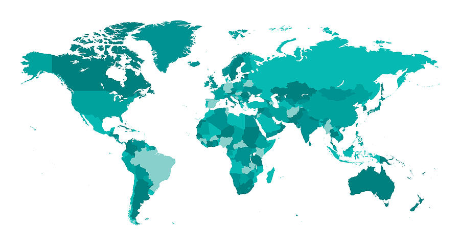 Map World Seperate Countries Turquoise Drawing by Bamlou