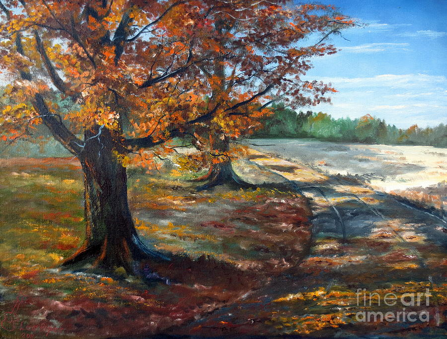 Lee Piper Painting - Maple Lane by Lee Piper