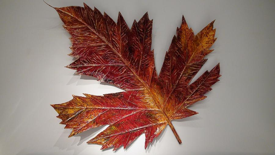 Maple Leaf Wall Sculpture Sculpture - Maple Leaf by Sri Ananda Preman