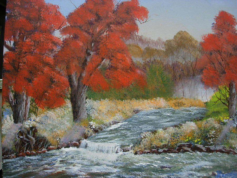 Maple Trees Painting - Maples On A Mountain Stream by Joe Reynolds