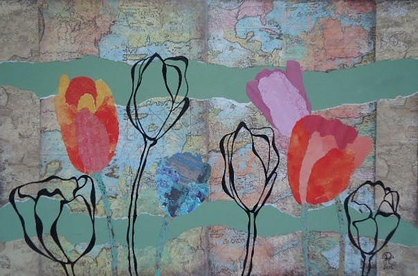 Flowers Drawing - Mapping Tulips by Glenn Calloway