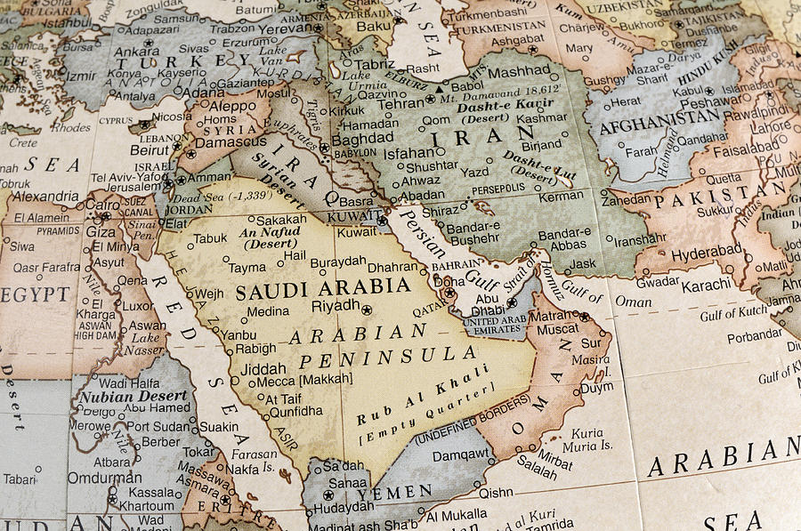 Maps Of Countries In Middle East Photograph by KeithBinns