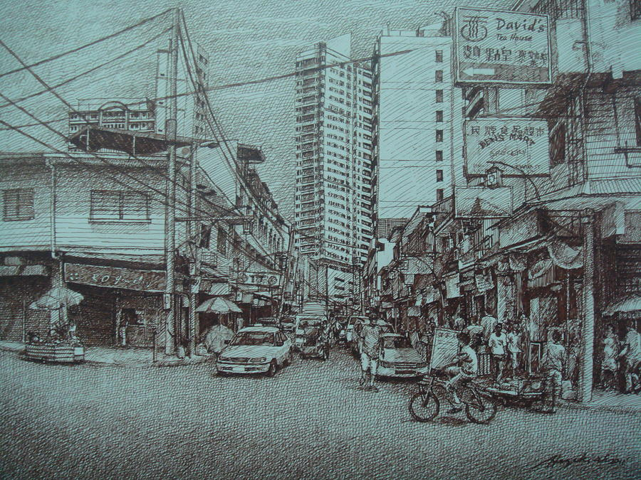 China Town Drawing - Mapua Street by Hezekiah Lopez