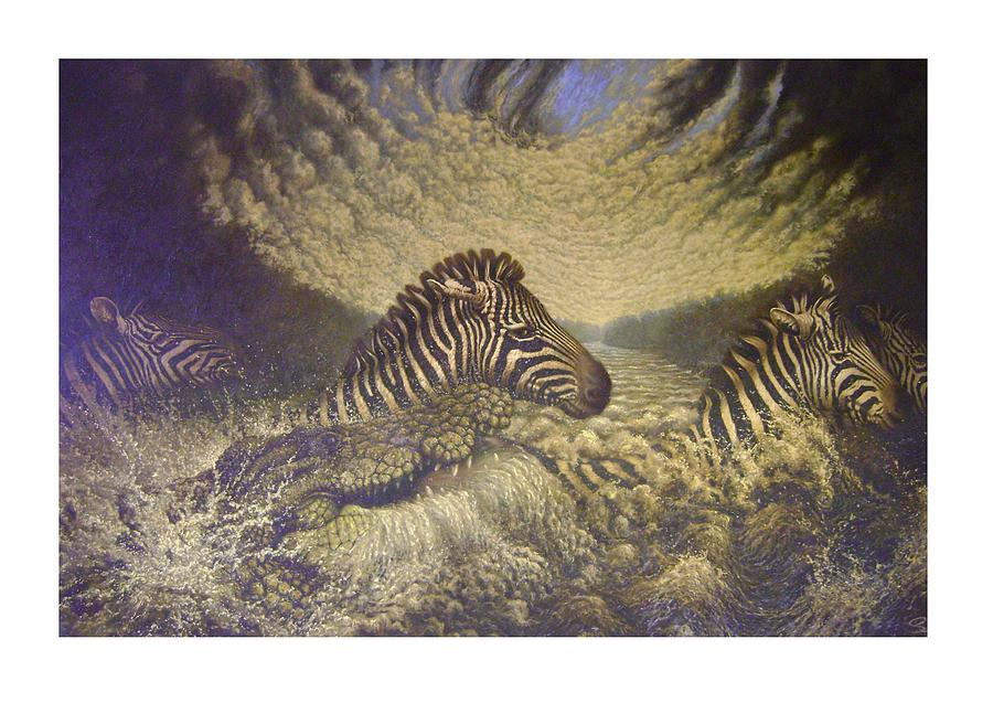 Zebra Painting - Mara Crosasing by Steven Wood