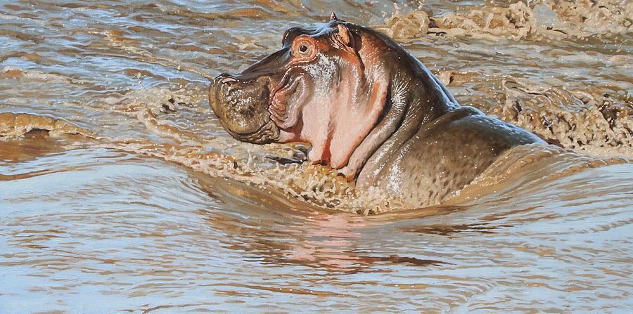 Hippo Digital Art - Mara River Hippo by Aaron Blaise