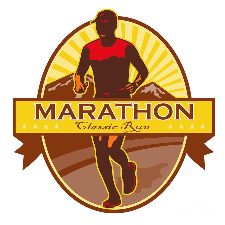 Marathon Digital Art - Marathon Classic Run Retro by Aloysius Patrimonio