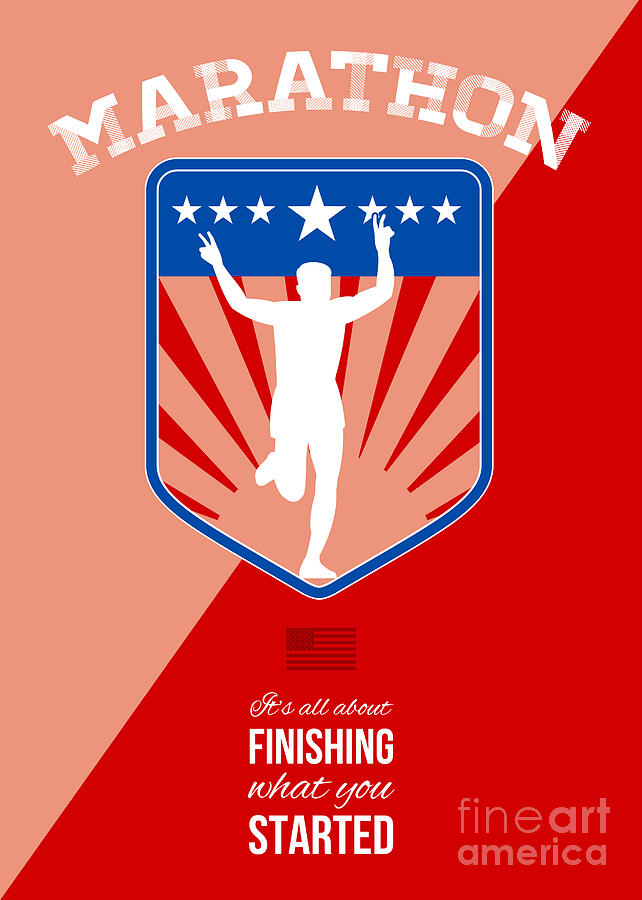 Poster Digital Art - Marathon Runner Finish Run Poster by Aloysius Patrimonio