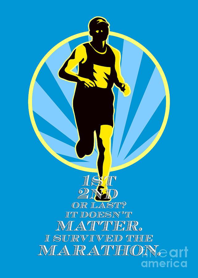 Poster Digital Art - Marathon Runner First Retro Poster by Aloysius Patrimonio