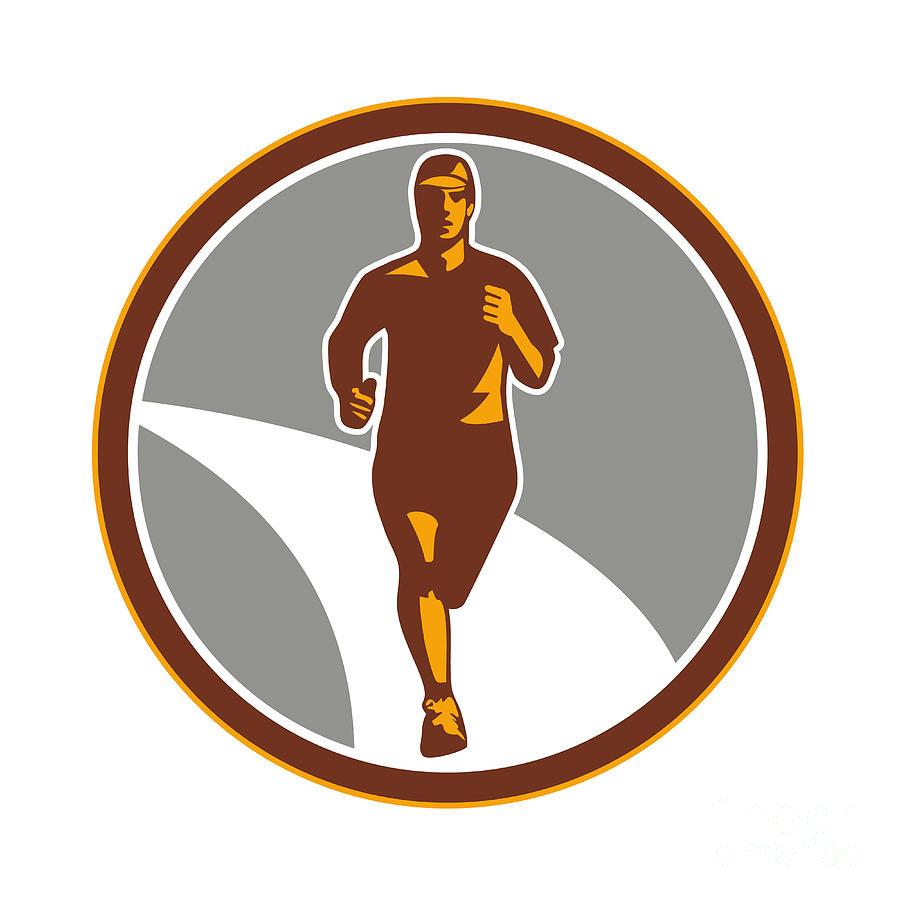 Marathon Digital Art - Marathon Runner Front Circle Retro by Aloysius Patrimonio