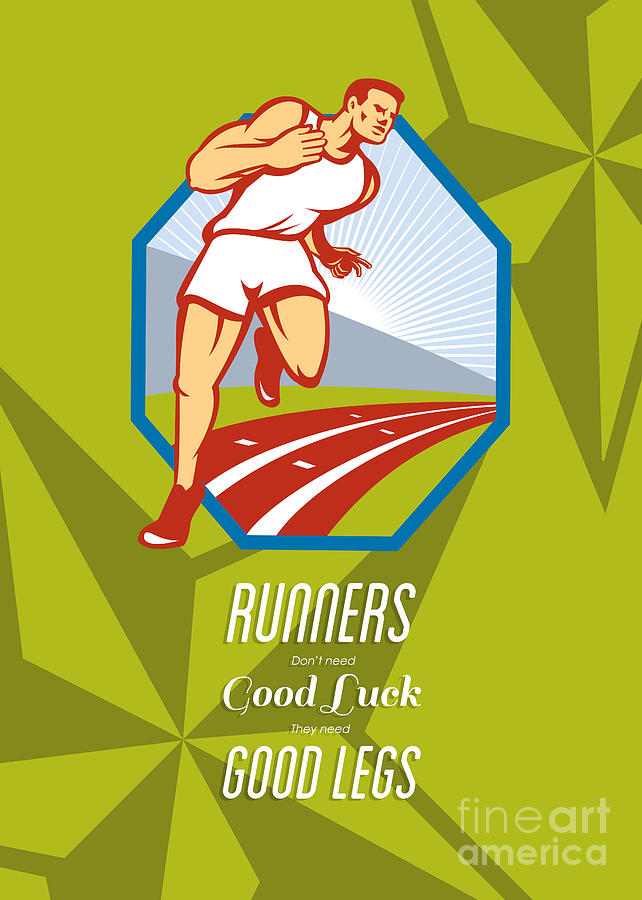 Poster Digital Art - Marathon Runner Race Track Retro Poster by Aloysius Patrimonio