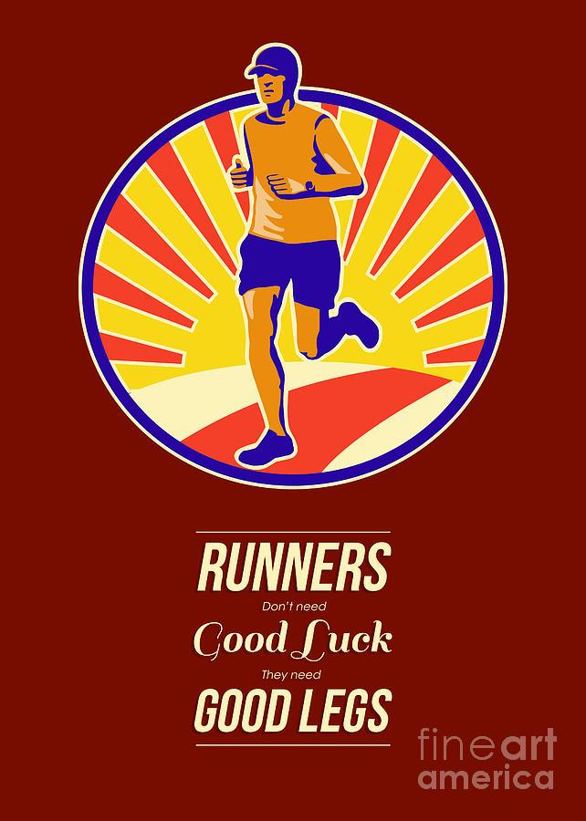 Poster Digital Art - Marathon Runner Retro Poster by Aloysius Patrimonio