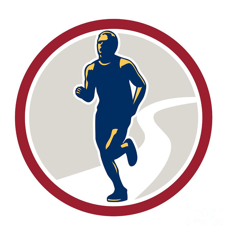 Marathon Digital Art - Marathon Runner Running Circle Retro by Aloysius Patrimonio