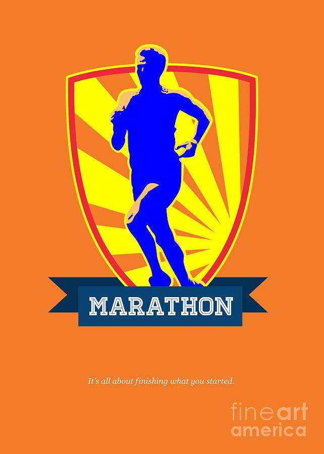 Poster Digital Art - Marathon Runner Starting Run Retro Poster by Aloysius Patrimonio