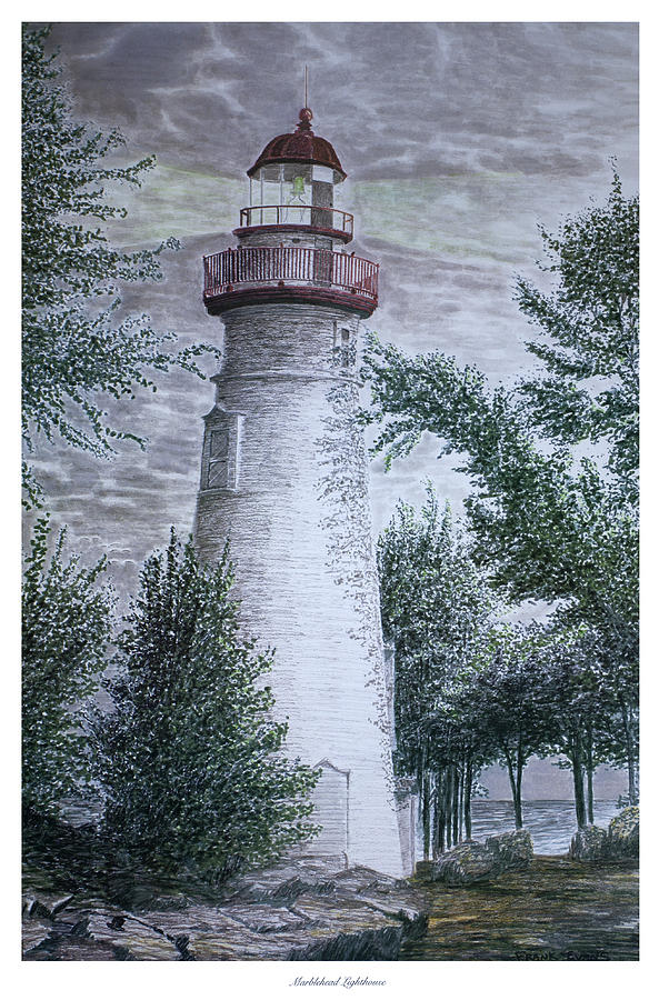 Ohio Drawing - Marblehead Lighthouse by Frank Evans