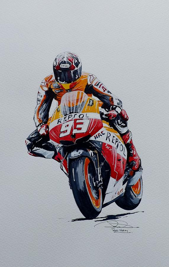 Marc Marquez Painting by Rod Verity