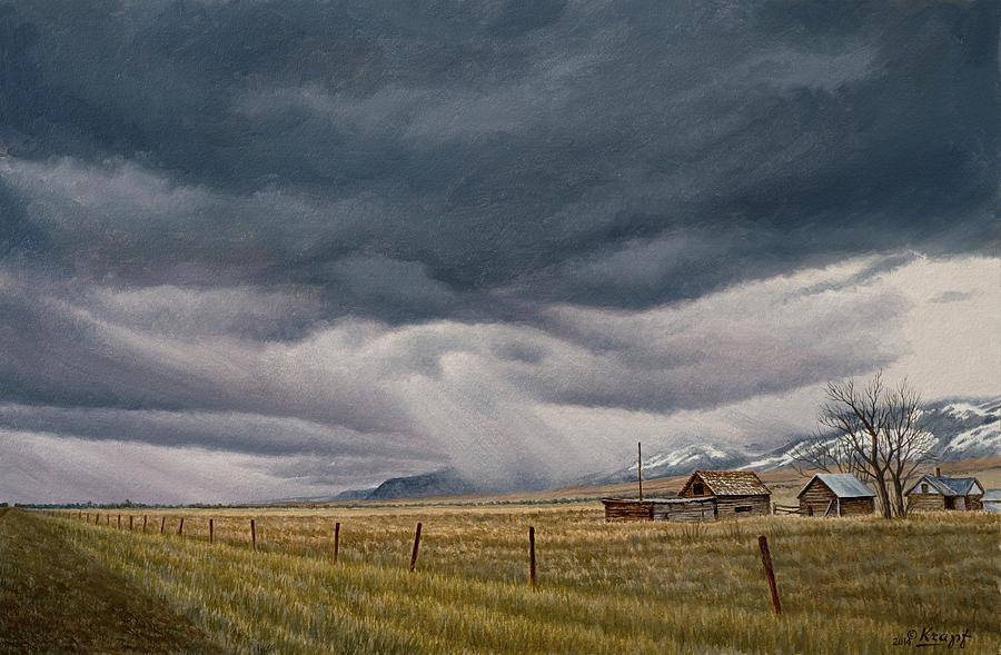 Landscape Painting - March Sky-Montana by Paul Krapf